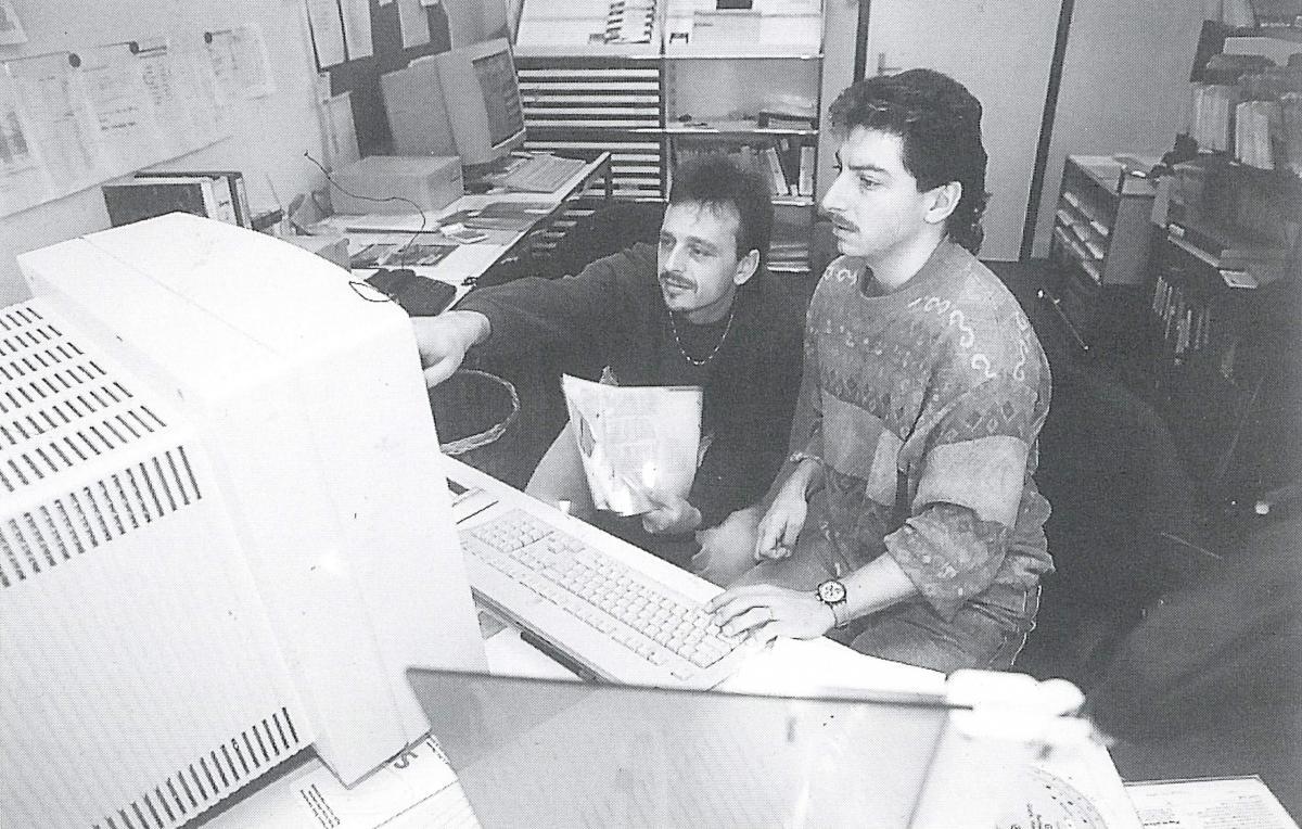 Die Layout Abteilung des TCS (Redaktion Touring) im Jahr 1995